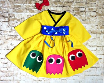 Pac Man Dress - Little Girls Dress - Toddler Girls - Pac Man Ghost - Ms Pacman - Preteen Costume - Teen Clothes - Birthday  -  2t to 14 yrs