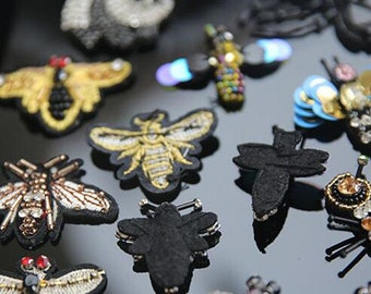 Rhinestone Jewel Acrylic Insects Bugs Flower Colorful Embroidered Sew on Patch Applique RA0523