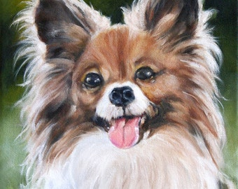 Custom Pet Portrait, Pet Portrait, Oil Painting, Papillon Painting, Animal Portrait, Painting of Dog