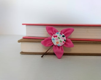 Bobby Pin with Pink Fabric Flower and Covered Button Center