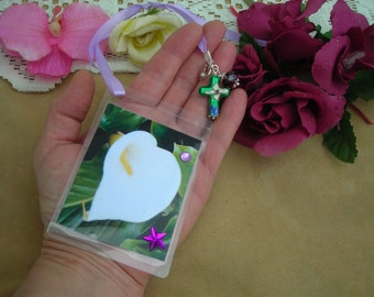 EASTER Calla LILY Handmade printed & plastified image BOOKMARK w. ribbon, cloisonne Cross and charms