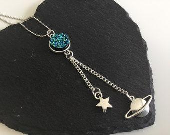 Moonstone Saturn  necklace ,space jewellery , necklace , planet necklace , star necklace , moon necklace , jewelry