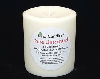 """Handmade 3-1/2"""" x 3"""" unscented soy pillar candles.  Your purchase supports forest restoration projects locally & globally."""