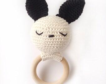 Sleeping Bunny on wooden ring