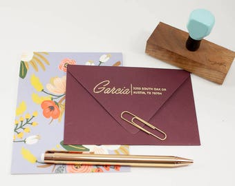 Wedding Return Address Stamp, Christmas Stationery, Address Label, Rubber Stamp, Robins Egg Blue Rubber Stamp, Walnut Stamp, Gift Under 30