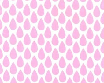 Harper Quinn Pink Rain Drop Fabric, Raindrop Fabric, Pink and White Rain Drops, Michael Miller Fabrics, Quilting Cotton Fabric by the yard
