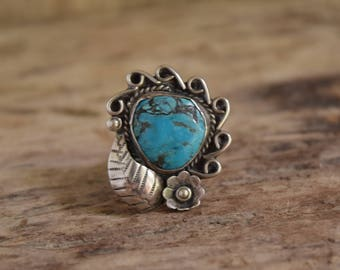 Turquoise Ring - Flower Ring - Sterling Silver Ring, Native jewelry, round turquoise stone ring, feminine turquoise ring, southwestern rings