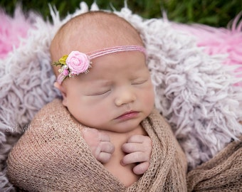 Fairy Garden Tie Back Headband, Newborn Photo Prop, Pink Flower Headband