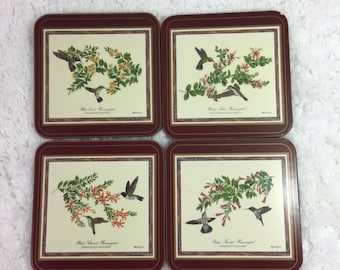 Vintage Set of 4 Pimpernel Hummingbirds Coasters with Part of the Original Box / made in England / cork back / marked imperfect