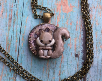 whimsical Steampunk Squirrel Necklace, Steampunk Necklace, Squirrel Necklace, Squirrel Jewelry, Steampunk Jewelry