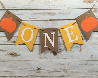 ONE Pumpkin High Chair Banner, Pumpkin Banner, Little Pumpkin Party, 1st Birthday, Photo Prop, First Birthday, Banner, Pumpkin Decoration