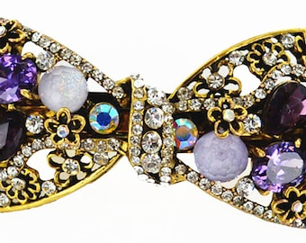 New  Multi Color Amythst Cluster Crystal & Rhinestone  Antique Gold Metal Bow 3- 1/2'' Hair Barrette