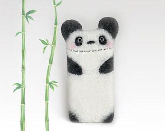 Panda Bear case for iPhone X, iPhone 8 , iPhone 8 Plus, felt panda phone case, white-black, eco-friendly
