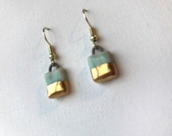 Small turquoise rectangular ceramic drop earrings, turquoise and gold, handmade earrings, 10mm, modern, minimalist, dangle earrings
