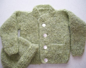 Soft Green Cardigan and Hat
