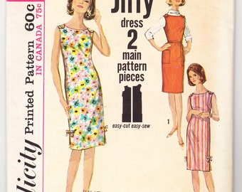 Vintage 1964 Simplicity 5459 Sewing Pattern Misses' One-Piece Dress or Jumper Size 18 Bust 38