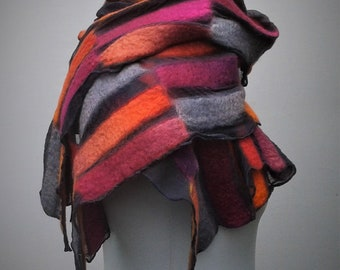 Pink and orange nuno felt scarf on silk.