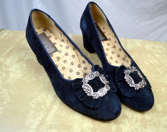 Vintage 60s Suede Oktoberfest Buckle Blue Costume Pump Leder Tracht Shoes - Made in Italy - Size 38