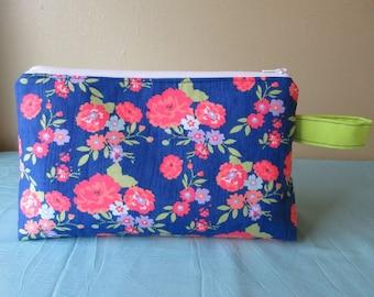 Medium Project Bag- Happy Flowers on Blue