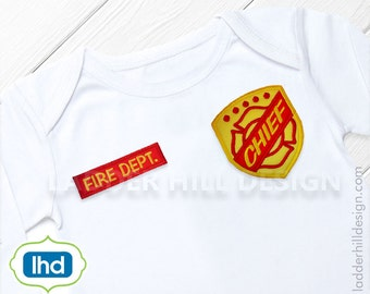 Fireman Maltese Applique -- Fire Chief  Badge Applique Machine Embroidery Design -- No. B0015