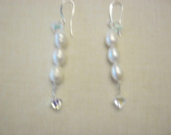 Elegant and Modern Freshwater Pearl Earrings for a Bride