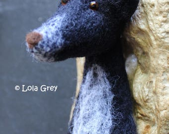 Needle Felted Greyhound Head Brooch