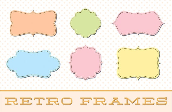 Digital Clipart Scalloped Frames - Set 28 with Brushes & Custom ...