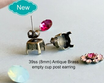 39ss (8.5mm) Antique Brass empty cup post earrings