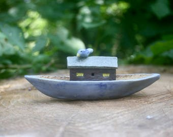 small houseboat with fat bluebird, hand built and modeled stoneware clay, OOAK