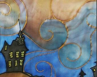 Silk scarf  hand painted Batik . Fairy Tale.  OOAK.