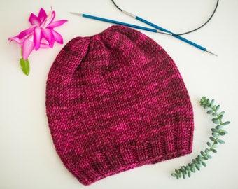 Handknit Baby Hat - magenta, size 6 months