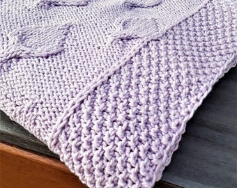 Hand Knit Lilac BABY BLANKET - Free Delivery in Ottawa