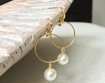 Gold Medium Pearl Hoop Earrings