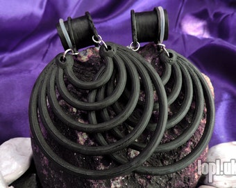 """Black Super Hoops Tunnel Plugs Ear Weights Hangies PLA 0g 00g 7/16"""" / 8mm 10mm 11mm"""