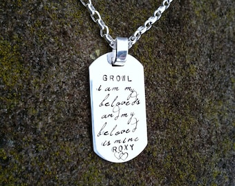 Custom Thick Sterling Silver Men's Dog Tag Dogtag Necklace - personalize with your own names, dates, or words