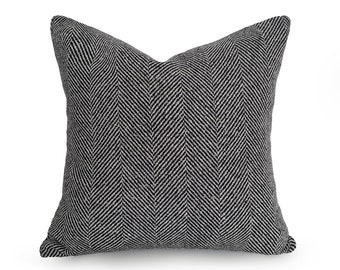 Black Textured Pillow, Jumbo Herringbone Pillow, Rustic Wool Pillow, Black Pillow, Throw Pillow Covers, Sofa Pillow, Lumbar, 18, 20, 22, NEW