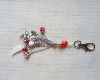 Plated rhodium with multiple charms, mother of Pearl & key holder