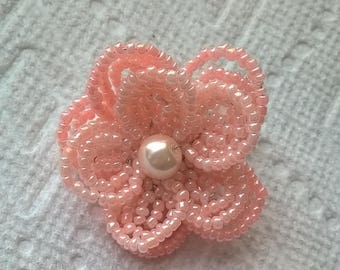 Light and Medium Peach Color French Beaded Flower Hair Clip - Wedding, Bridesmaid, Prom