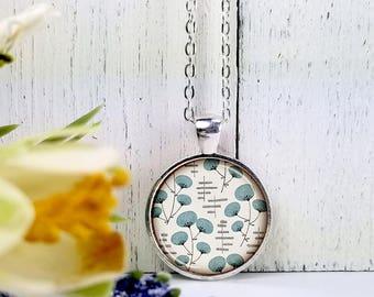 Aqua Puffy Flowers-Medium Round- Glass Bubble Pendant Necklace