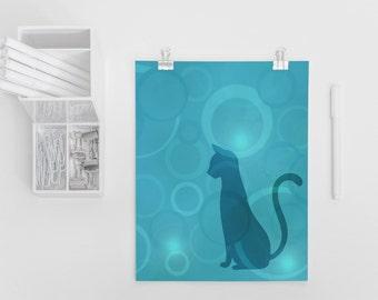 Cat Silhouette Art Print 4x6, 5x7, Cat Decor, Crazy Cat Lady, Cat Lover, Wall Art, Girls Room Decor