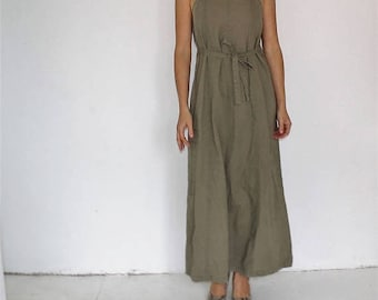 Army green pinafore dress vintage 90s grunge overall bib maxi dress size large hippie boho suspender romper 1990s hipster minimal jumper