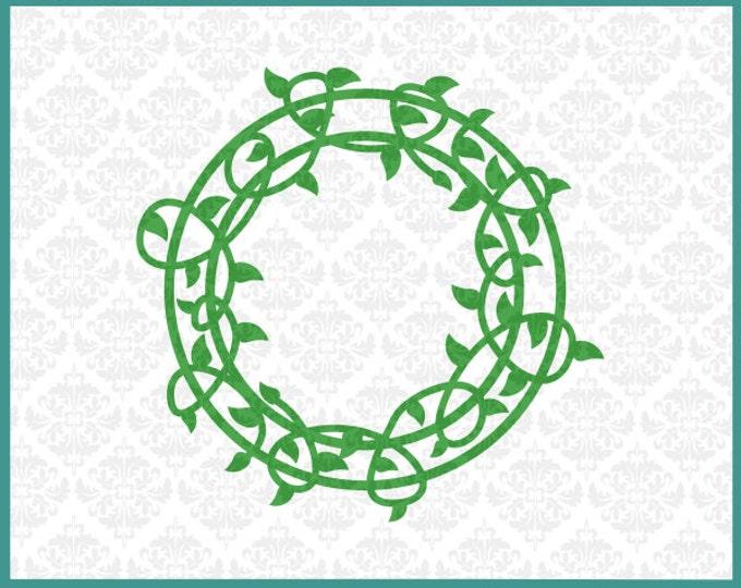 CLN0125 Vine Vineyard Monogram Wrap Circle Leaves Plant SVG DXF Ai Eps PNG Vector Instant Download Commercial Cut File Cricut Silhouette