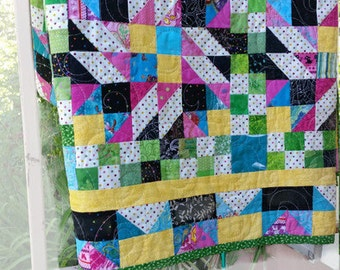 Patchwork Bed Quilt, Grand Illusion