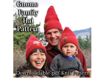 Gnome Hat Knitting Pattern .pdf for worsted or chunky weight yarn