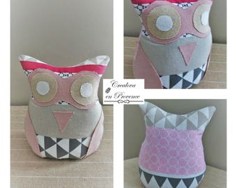 OWL in white, pink, beige and gray cotton fabric. Decorative object to ask