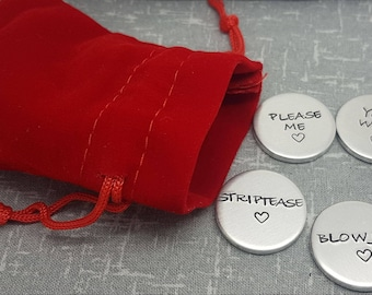 Adult Love Tokens - 5x Naughty Love Tokens - Gift for Boyfriend - Gift for Girlfriend - Husband - Wife - Birthday - Anniversary - Valentines