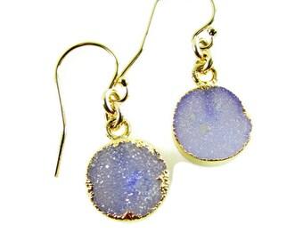 Light Purple Druzy Dangles, Druzy Gemstone Earrings, Delicate