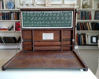 Antique 1913 Folding Industrial Art Desk w Lessons by Lewis E Myers Co
