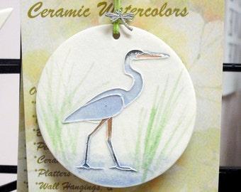 Great Blue Heron ORNAMENT plus free gift wrap, original, 100% handmade