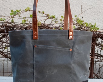 Waxed Canvas Market Tote Bag - FREE Standard Shipping in US - Grey/Black - Bridle Leather Handles - Copper Rivets - Unisex - Made in USA